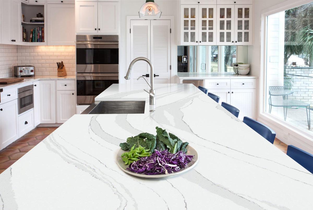 renovate kitchen around countertops with white calacatta Oceania