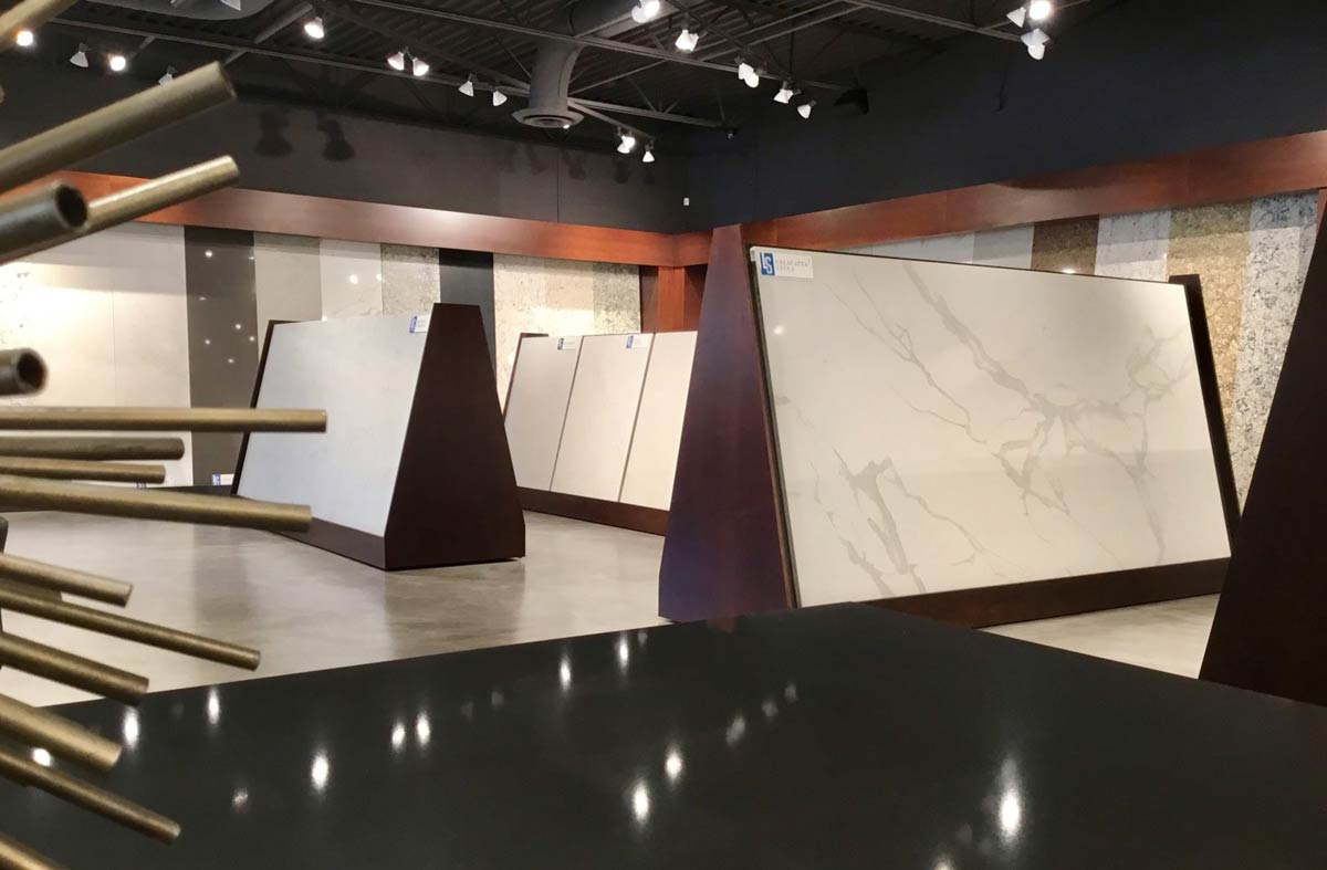 sample slabs in lakeside surfaces showroom