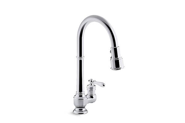 single chrome kitchen faucet