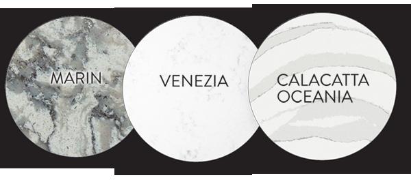 countertop choices marin, venezia and calacatta oceania